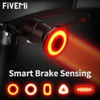 Fivemi الذكية دراجة الخلفية مصباح السيارات الفرامل الاستشعار IP65 للماء LED USB تهمة ركوب الدراجات الخلفي الدراجة الخلفي الإضاءة الملحقات 201028