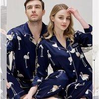 Spring Automne Couple Hommes Amants Pour Femmes Soie Soie De Sleep Homme À Manches Longues Pajamas Twinset Loungewear Pajama Pajama Nightwear Bird T200813