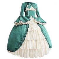 Vestidos casuais vestido vintage vestido medieval traje cosplay mulheres gótico quadra quadrado colcas de colcas vestido de arco # J301