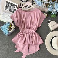 Peplum Top Chiffon Bluse Sommerkleidung Frauen Tops und Blusen Blusas Mujer de Moda 2020 Koreanische asymetrische Bogen-Hemd-Tunika