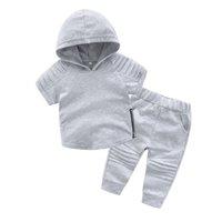 Kız bebekler yaz kıyafetler çocuklar kısa kollu kapşonlu sweatshirt + gündelik pantolon 2adet setleri çocukların spor takımları A4523