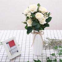 Flores decorativas guirnaldas colorido al por mayor estilo europeo 12 cabezas artificial ramo ramo de borde de ramo para sala de estar decoración de boda