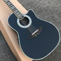 맞춤형 솔리드 12 문자열 어쿠스틱 기타 실제 전복 OT 어쿠스틱 일렉트릭 기타 탄소 섬유 거북이 셸 음향