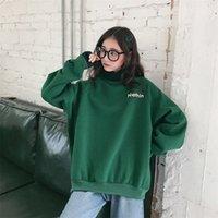 Melifle Kış Sıcak Yeşil Ipek Kazak Kadınlar Için Uzun Kollu Saf Yumuşak Hoodies Moda Kore Gevşek Kadife Kalın Giysileri Tops 201203