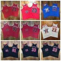 Mitchellness Mens 33 Scottie Pippen 91 Dennis Rodman All-Star Yuse Au Kumaş Örgü Nakış Logolar Dikişli Stok Gömlek Basketbol Formaları