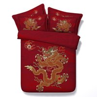 4 / 6PC Tribal Sheets Set Chinese Traditional Dragon Bedding Red Woman and Wolf Duvet Cover Set Single Super King Bed Linnen