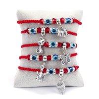 Rinhoo Lunk red Wire Hamsa вешалка браслет синий турецкий злой глаз очарование для женщин мужчины ручной работы ювелирные изделия