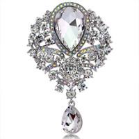Alta calidad grande cristalino de la lágrima Broche para las mujeres o de boda en color oro o plata Colores