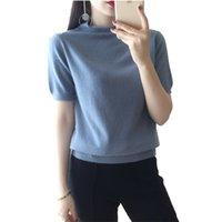 Mulheres de manga curta 2019 nova primavera de malha cor sólida pulôver lã camisola casual cashmere senhor camisa tops