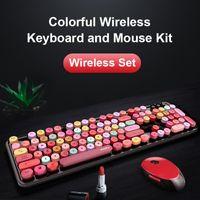 Teclado Mouse Combos 2.4G Conjunto sem fio para laptop computador pc gamer kit de jogos redondos silenciosos