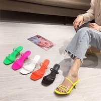 MONMOIRA Narrow Band High Heel Slipper Sandals Women Vintage Square Toe Women's Sandals Summer Beach Shoes Women SWC0825 Y200702