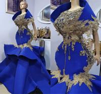Aso ebi sereia plus size vestidos de baile de baile de luxo Africano azul azul frisado lace meninas negras festa africana vestidos de noite