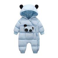 Olekid 2020 зима младенца снегосемяный мультфильм панда густая теплая новорожденная девочка комбинезон малыш снежный костюм ребёнок комбинезон комбинезон LJ201007