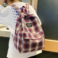 Fashion Student Female Cute Women School Bag Teenage Girl Cotton Canvas Backpack Plaid Lady Kawaii Bags Harajuku Luxury Q1113