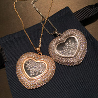 Sparkling Strass Diamante Zirconia Medaglione Collana Designer di moda Vetro Crystal Box Collana pendente per le donne Girls Rose Gold Silver