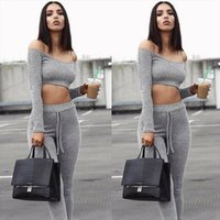 2019 New Fashion Womens Set Off Shoulder Long Sleeve Crop To...