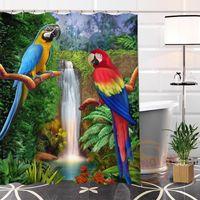 Душевые занавески Шунянский Пользовательский Попугай Живопись Современные Занавески Товары для ванной комнаты с крюком Водонепроницаемый Для себя Gift1