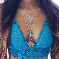Mehrschicht Halskette Frauen Luxus Schmuck Zubehör Überzogene Silber Kette Choker Halsketten Anhänger Böhmen Kreismond 124 L2