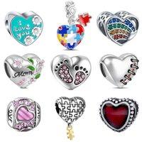 Новый S925 Sterling Silver Cross Love Heart Mom Подвески Зеленый / золото / синий Эмаль бисер Подходит Пан браслет DIY для женщин