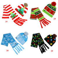 Christmas LED Light Hat Scarf Sets 4 Styles Big Kids LED Light Hat Cartoon Tree Xmas Knitted Beanie Scarf Set Festive Party Hats DBC BH4234