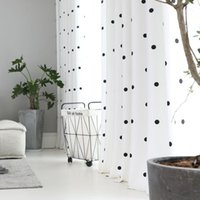 Tela de algodão e linho simples moderno simples círculo preto círculo de círculo para sala de estar cozinha branco tulle jk145y1