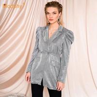 Abiti da donna Blazers modphy 2021 moda signore lucido argento blazer sexy risvolto a soffio a soffio a doppio petto tascabile