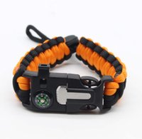 Outdoor Survival Emergency Paracord Paracord Scackle Fibbia regolabile Handmade Paracord Link Climbing Corda Cavo Donne Homme Braccialetti Camping