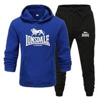 Мода Lonsdale Print Men Hoodies Suits Brand Cousssuit Мужчины Хип-хоп Толстовки + Сфальные Уплотнения + Спальные штаны Осень осень зимний флис с капюшоном Coolover X0124