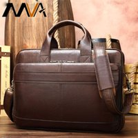 WESTAL business men's briefcase men's bag genuine leather 15'' laptop bag leather briefcases for document office bags for men