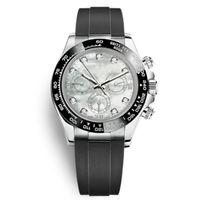 Casual Top Watch Black Ceramics Bezel Bianco Shell Dial Mens Fashion Mechanical Automatic WristWatch Movimento Relojes Orologio