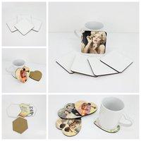 La sublimación de bricolaje Coaster en blanco del corcho de madera MDF taza del cojín Promoción flor redonda Amor en forma de copa Partido Publicidad Mat regalo del favor de LJJP778