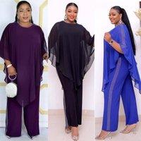 Vestidos étnicos Vestidos Africanos para mulheres 2 peças definir manto + macacão Dashiki Roupas Lantejoulas Bazin Fashion Top e Calças África Suit1