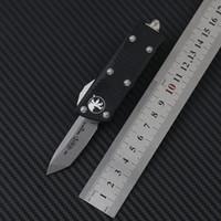 Microtech Mini Troodon-M 자동 칼 스톤 세척 D2 스틸 T6-6061 항공 알루미늄 합금 핸들 포켓 나이프 야외 캠핑 EDC 도구