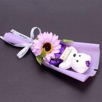 Urso Rose Flower Decorações Do Casamento Buquê Dia Dos Namorados Presente Sabão Flor Flores Falsões 7 Estilo HHB4235 92 J2