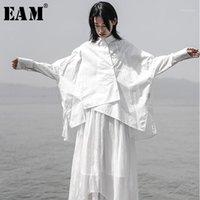 Женские блузки рубашки [EAM] 2021 осень осень зима отворота с длинным рукавом белый свободные негабаритные нерегулярные рубашки женские блузка мода прилив JS9211