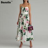 Banulin Yaz Seksi Straplez Çiçek Baskılı MIDI Elbiseleri Kadınlar Için Pist Tasarımcısı Zarif Parti Elbise Zomerjurk Dames 20201