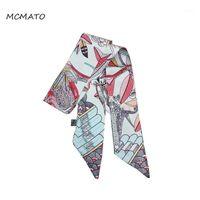 2020 새로운 디자인 깃털 새 잎 인쇄 여자 실크 스카프 브랜드 가방 리본 패션 헤드 스카프 작은 긴 스카프 헤드 밴드 1