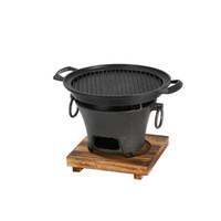 Tragbare Gusseisen Holzkohle-Grill Korea Stil Grillmöglichkeiten Tischgrill Hot Pot Herd retro Ofen Aluminiumpfanne mit Holz pa