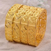 Bracelet 24k Dubai 4pcs / Lot Gold Color Bracelets pour femme mariée mariage Bracelet Ethiopian Afrique Arab Bijoux Charm Bresslate