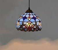 유럽 8 인치 빈티지 티파니 매달려 푸른 스테인드 글라스 샹들리에 침실 발코니 복도 펜던트 램프 유약 램프