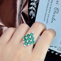 Anello smeraldo super lussuoso, smeraldo naturale, di buona qualità, bel colore, smeraldo colombiano. Argento sterling 925 J0112
