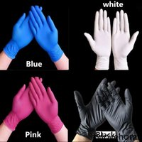 Gants de nitrile en latex jetables Noir Bleu Blanc Rose PVC Gant de PVC Beauty Color Caoutchouc Latex Cuisine Outils Expérience Tatouage Nettoyage Gants de nettoyage