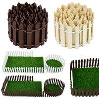Dekoratif Objeler Figürinler 100 * 5 cm / 3 cm Renkli Mini Çit DIY Minyatürleri Peri Bahçe Ahşap Zanaat Sevimli Maison Figurine Ev Vitrin D