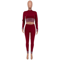 Yeni Kadın Kazak Tracsuit Kırpma Üst Pantolon 2 Parça Kadın Koşu Takım Elbise Takım Elbise Bayan Sweatsuits Ter Suits Giysileri Casual Outfit-2