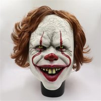Silicone Film Stephen King It 2 Joker Pennywise Full Face Clown Horreur Latex Masque Halloween Party Horrible Cosplay Prop Masques OOE2569