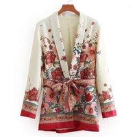 Frauenanzüge Blazer Vintage Blumen Gedruckt Blazer Casual gekerbte Kragen Slim Jacke Floral Kimono Frau Tiefe V-Ausschnitt Strickjacke mit Gürtel1
