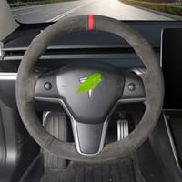 İtalyan süet formodel3 / modelX el dikişli süet Tesla direksiyon kapağı için uygundur