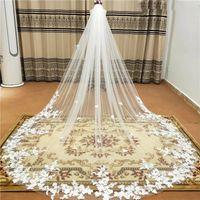 Gerçek Fotoğraf 3 M Bir Katmanlı Düğün Peçe Tarak Ile Beyaz Dantel Kenar Gelin Veils Fildişi Aplike Katedral Düğün Peçe