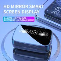 새로운 M9-18 미러 디스플레이 TWS 블루투스 5.0 이어폰 무선 헤드폰 9D 스테레오 스포츠 방수 이어 버드 헤드셋
