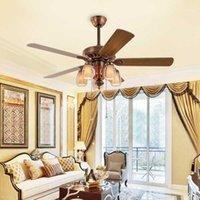 Популярные античные светодиодные вентиляторы с дистанционным управлением Стеклянные ламвянки деревянные потолочные вентиляторы лампы гостиной спальня ретро E14 лампа1